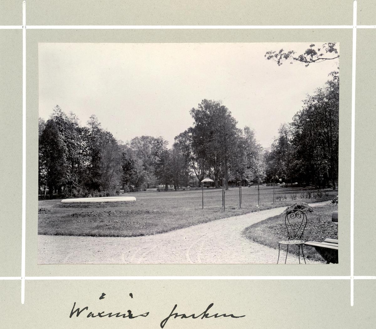 Bildserie tagen av August Malmborg (1875-1895), son till landshövding Adolf Malmborg, ägare till Våxnäs herrgård, och hans maka Julia, född Åkerhielm. Bilderna är tagna från tidigt 1890-tal fram till 1895 med bildtexten skriven av modern: Wåxnäs parken.