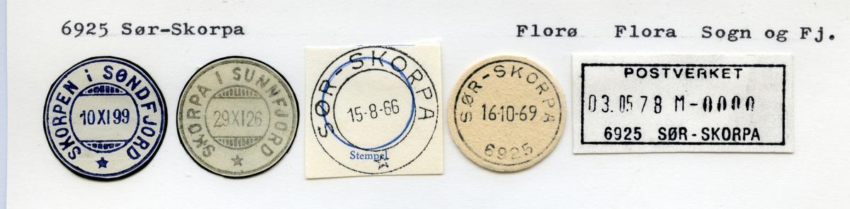 Stempelkatalog  6925 Sør-Skorpa, Flora kommune, Sogn og Fjordane