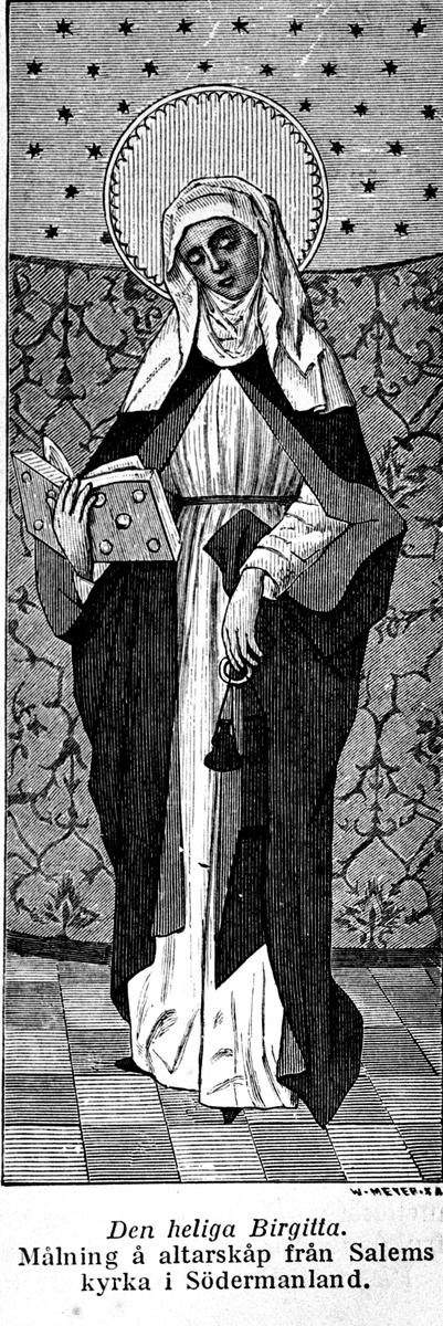Heliga Birgitta. Målning på altarskåp i Salems kyrka. Reproduktion av Österberg.