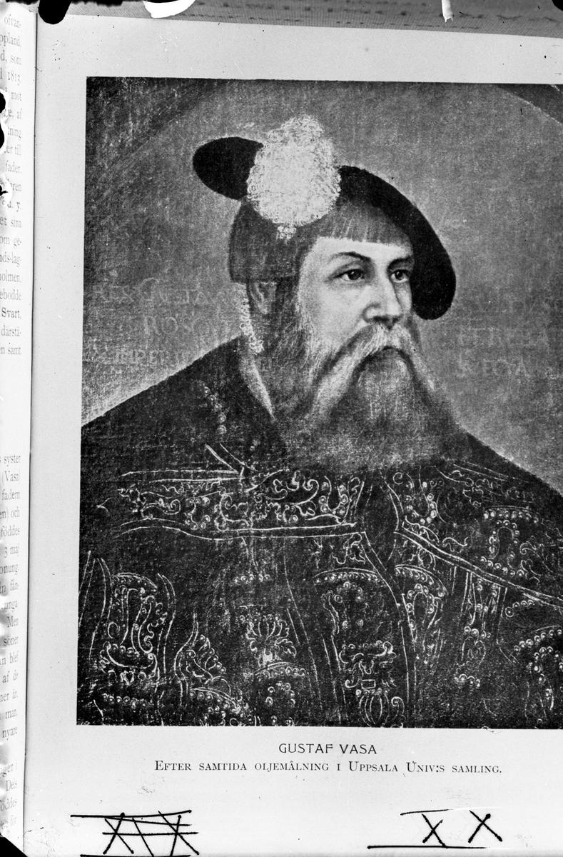 Gustav Vasa. Samtida oljemålning. Reproduktion av K.J Österberg.