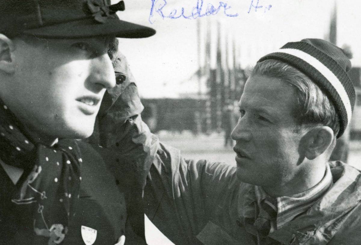 Athlete Birger Ruud in conversation with Reidar Andersen
