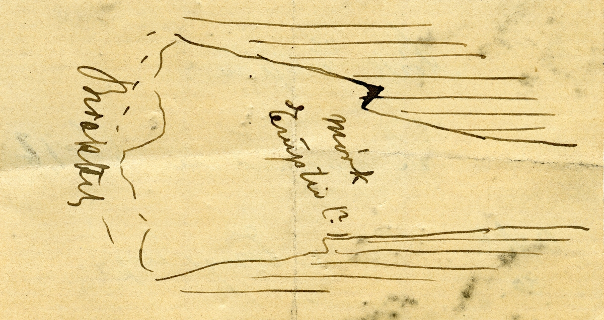 To små prøver To etiketter i eske:  Etikett 1: Mørk eruptiv (?) Bergmandsstien (No 1b) Kongsberg OAC 80. Feltskisse på baksiden  Etikett 2: Bergmandsstien (No 1b) Kongsberg O.A.C. 1880.