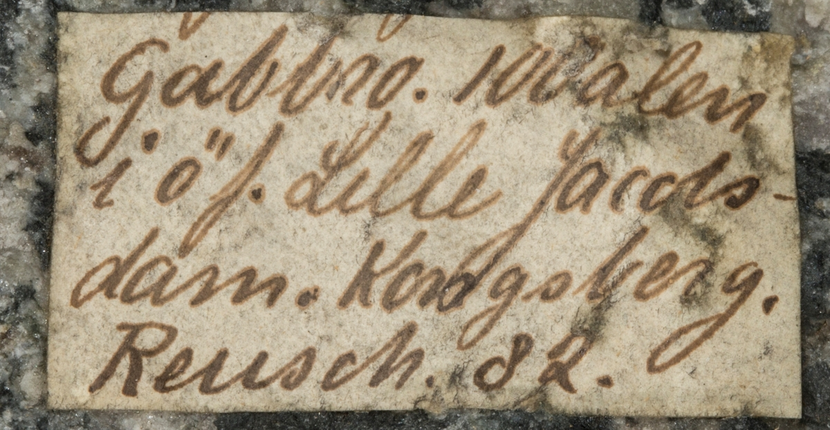 Etikett på prøve: Gabbro. 100 alen i ø f. Lille Jacobsdam. Kongsberg. Reusch. 82.