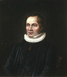 Portrett av Laurentius Oftedal. Prestekjole og -krave. Medalje eller medaljong i bånd rundt halsen. (Foto/Photo)