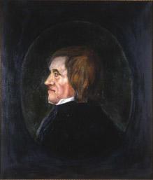 Portrett av Asgaut O. Regelstad  Mann med brunt halvlangt hår, hvit skjortekrage, mørk kledning  Innskrevet i oval, lysere enn resten av bakgrunnen