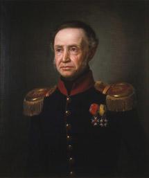Portrett av Henrik Sibbern. Uniform, ingeniøroberstløytnantsuniform, blå kjol m/rød krave, epåletter, to ordener. (Foto/Photo)