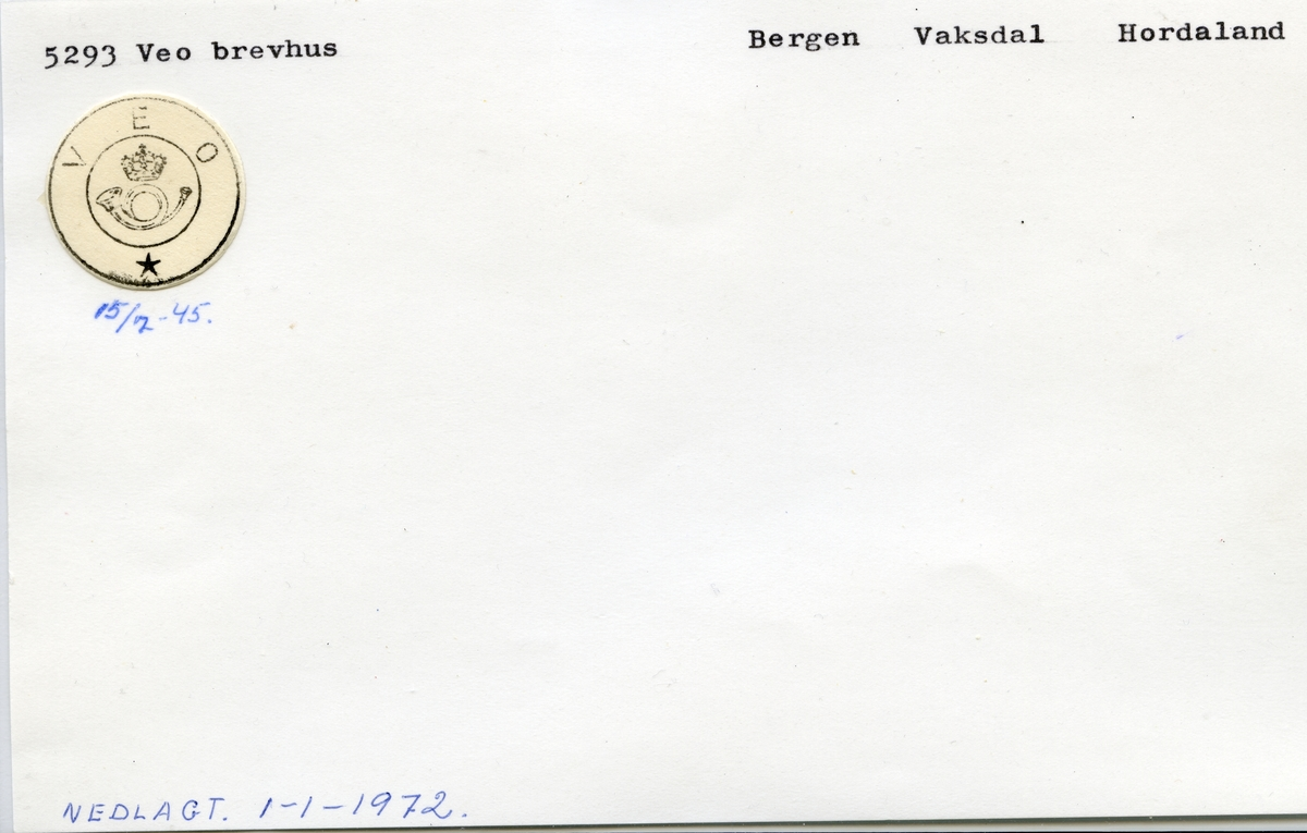 5293 Veo, Bergen, Vaksdal, Hordaland