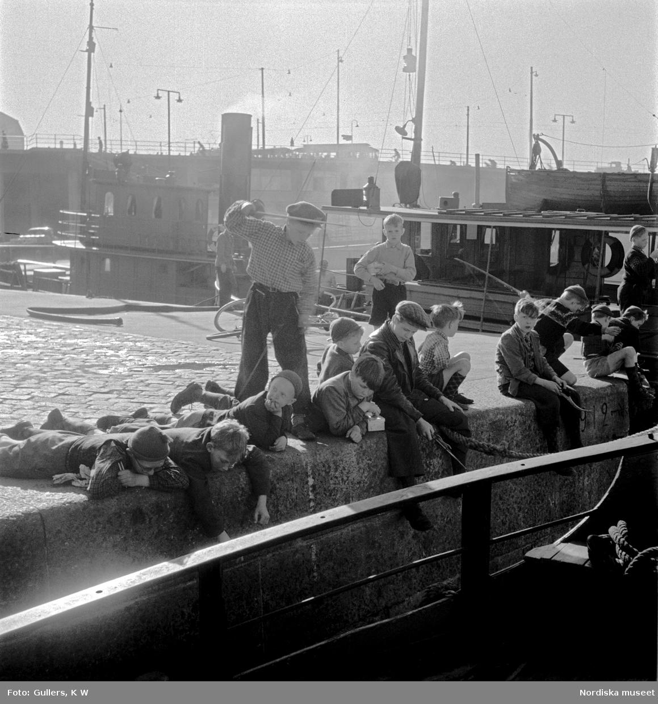 En grupp pojkar fiskar vid Stadsgårdskajen, Stockholm