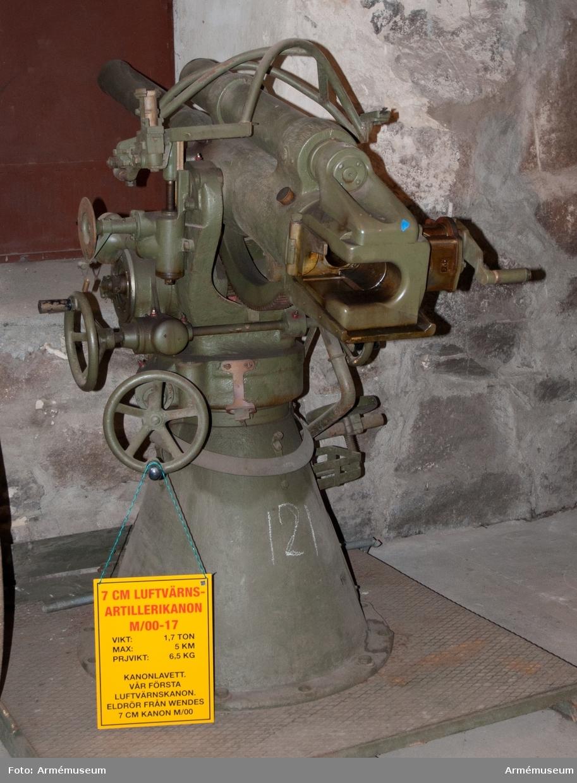 Grupp F I. 7,5 cm kanon m/1900-17 med fast lavett och tillbehör.