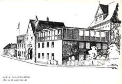 Postkort.  Påbygning av museets kontorfløy.  Bruksbygninger,