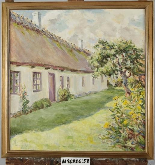 Oljemålning på duk.  Sommarmotiv. Framsida av halmtakshus med trädgård.  Vik, Skåne