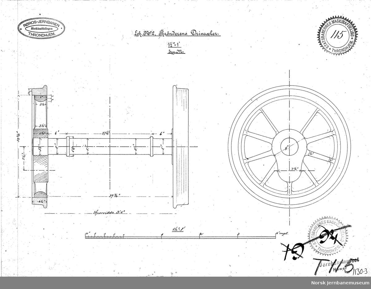 """Tegninger av utstyr til lokomotivet """"Trønderen"""": 1130-1 T114 Krok 03.1877 1130-2 T116 Exhaust Cock, for End. 15.10.1872 1130-3 T115 Drivaxler  1130-4 T117 New Motins Bars of Steen and New Block, 22.12.1877 1130-5 T113 Kjel 1130-6 T119 Forandring af No. 2 Thrønderen, Compensating Balances and Back axle. 26.04.1877"""