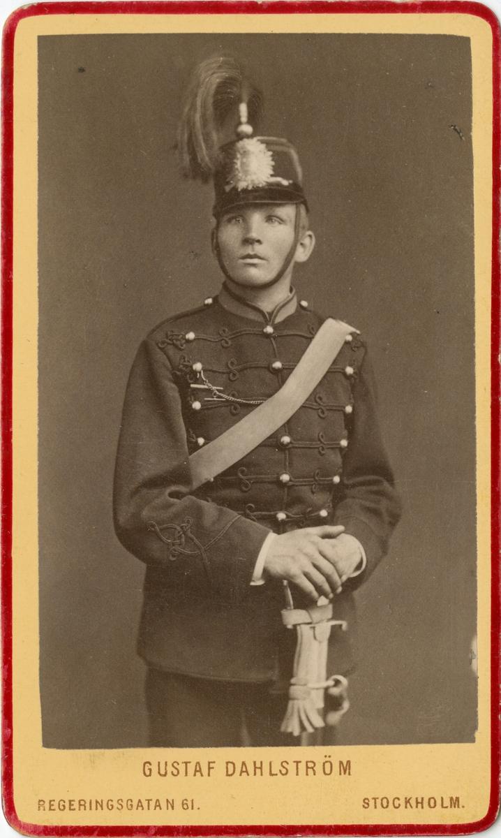 Porträtt av Gustaf Adolf Jansson Sköld, artillerist nr. 14 vid 10:e batteriet, Svea artilleriregemente A 1.