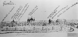 Gävle vid 1600-talets slut. Teckning av okänd konstnär.