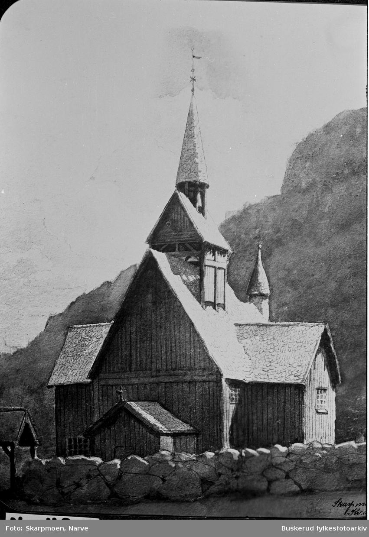 Parti fra Nes Repro av den gamle stavkirken som stod ved Nesbyen. Originalen er en akvarell malt av Hans Fredrik Gude (født 13. mars 1825 i Christiania, død 17. august 1903. Kirken ble revet i 1864.