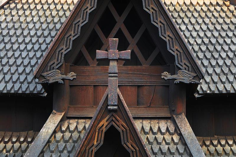 Stavkirke fra Gol på Norsk Folkemuseum, detalj av vestvegg.