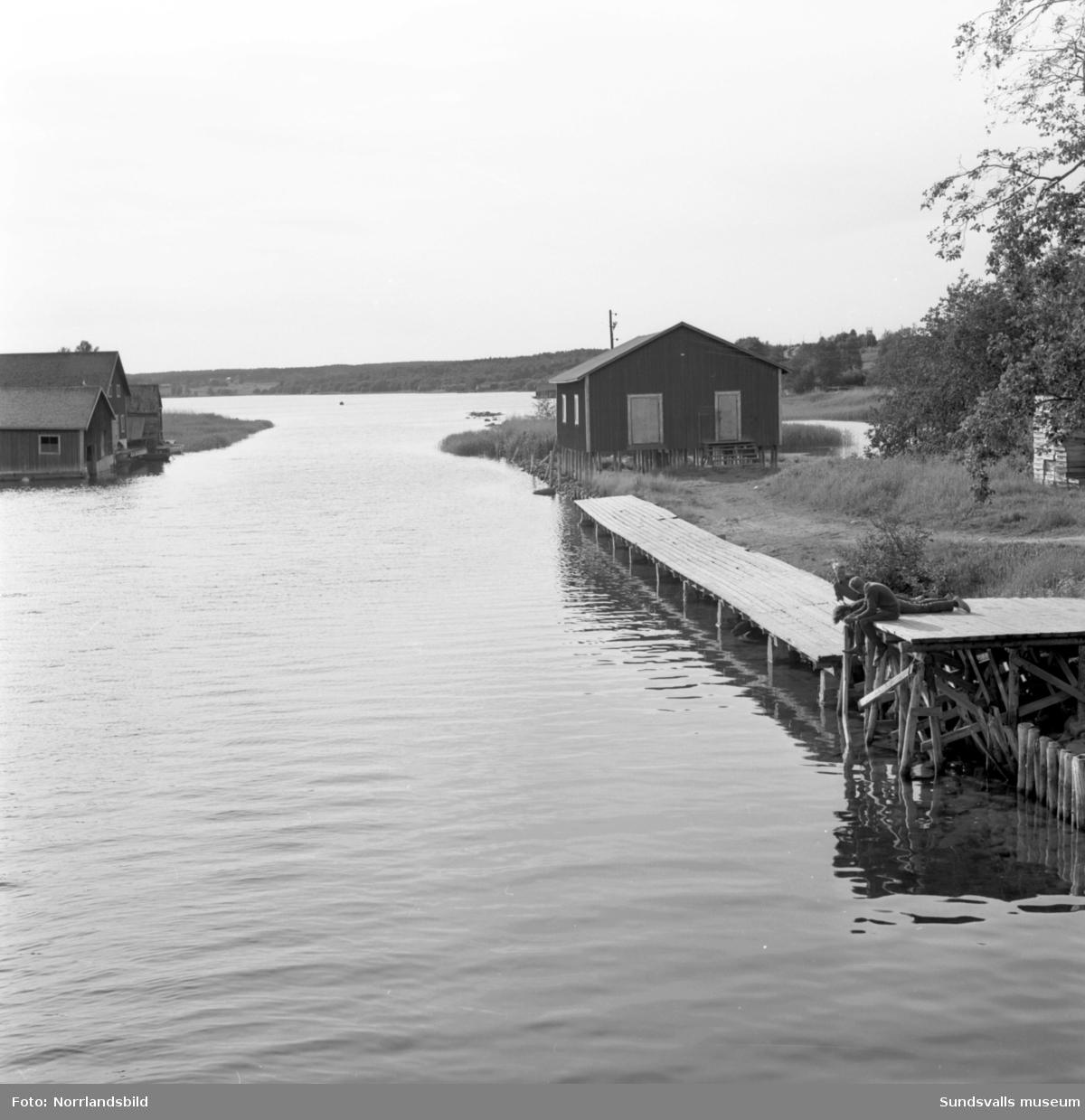 En grupp bilder från Tynderösundet. På första bilden passerar en buss den gamla bron mellan Tynderö och Åstön, två barn sitter på en brygga i förgrunden. Sjöbodar, midsommarstång och fiskebåtar.