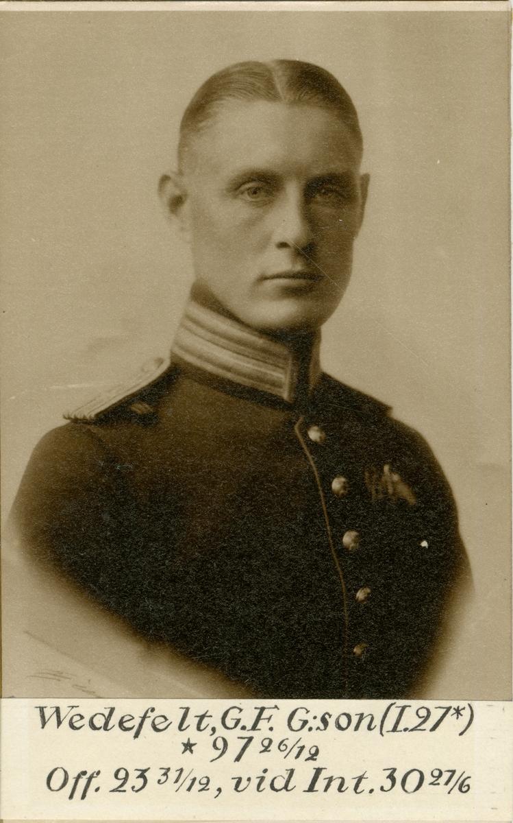 Porträtt av Gustaf Folke Wedefelt, kapten vid Intendenturkåren.