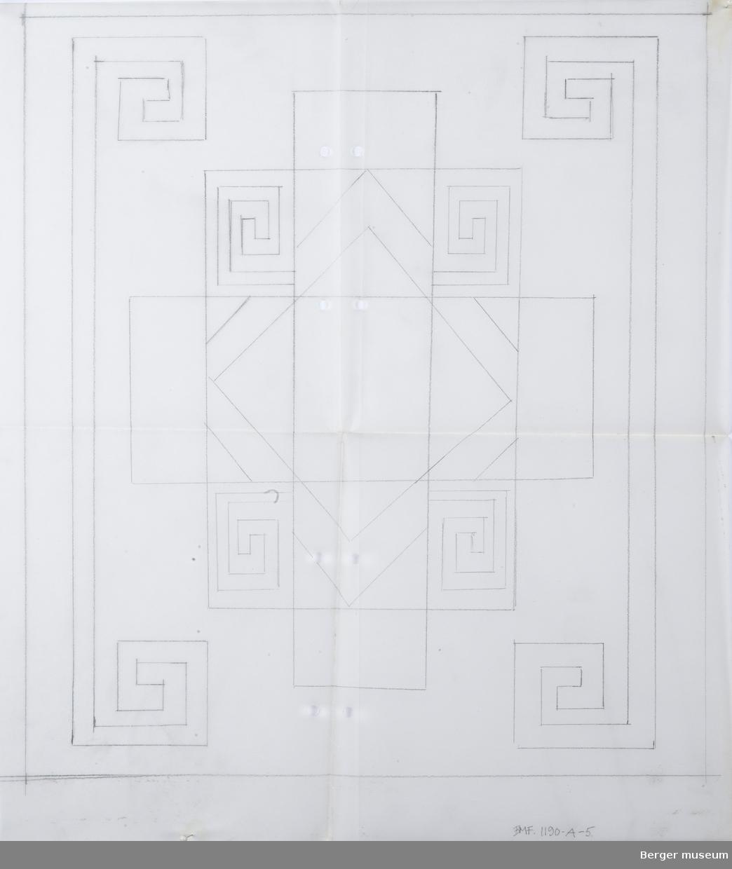 Rutemønster med løpende hund-ornament, blyant på kalkerpapir