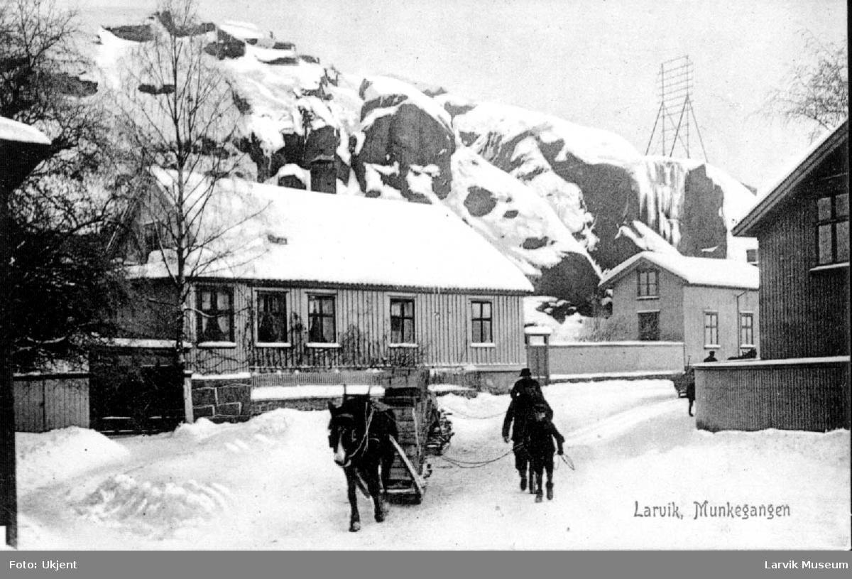 Munkegangen -  Larvik, vinter, hus. hest, slede, barn