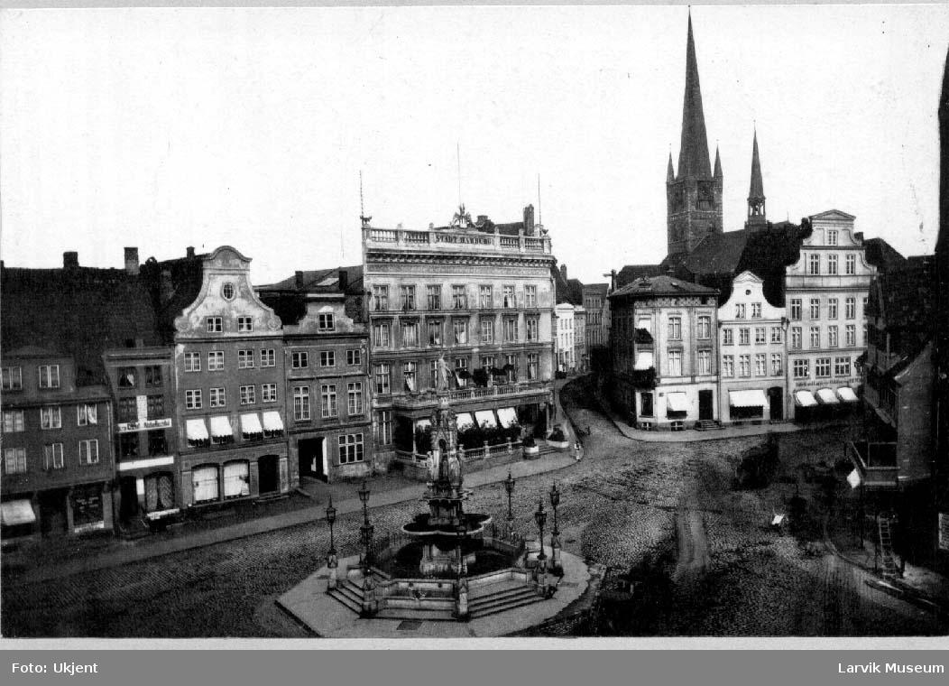 Klingenberg, Lübeck, Hotel Stadt Hamburg som i 1942 ble ødelagt av bomber.