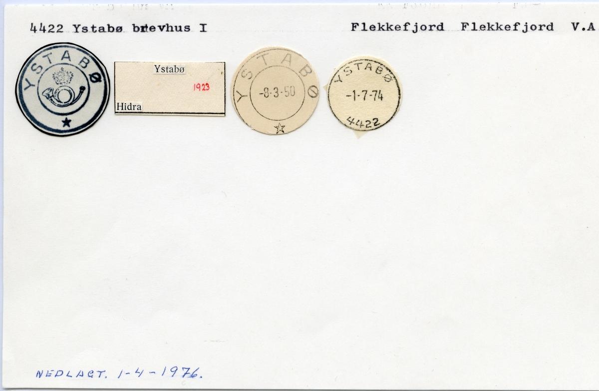 Stempelkatalog 4422 Ystabø, Flekkefjord kommune, Vest-Agder