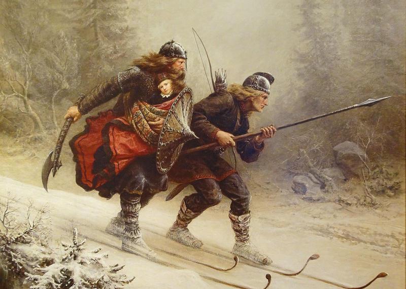 Bildet viser Knut Bergsliens maleri «Birkebeinerne» (1869) hvor birkebeinerne Torstein Skevla og Skjervald Skrukka flykter fra baglerne med vesle Håkon Håkonsson, kong Sverres sønnesønn og kongssønn, til birkebeinernes «hovedstad» Nidaros i 1206. (Foto/Photo)