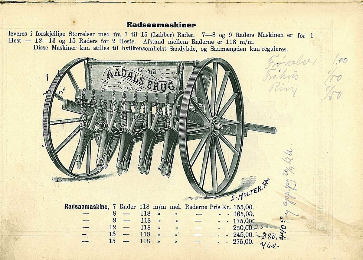 9 sålabber. Såkasse av tre med jernbeslag. Trehjul.