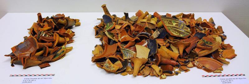 Keramikk samlet inn fra ett lag i løpet av to dager på Barcode B3. (Foto/Photo)