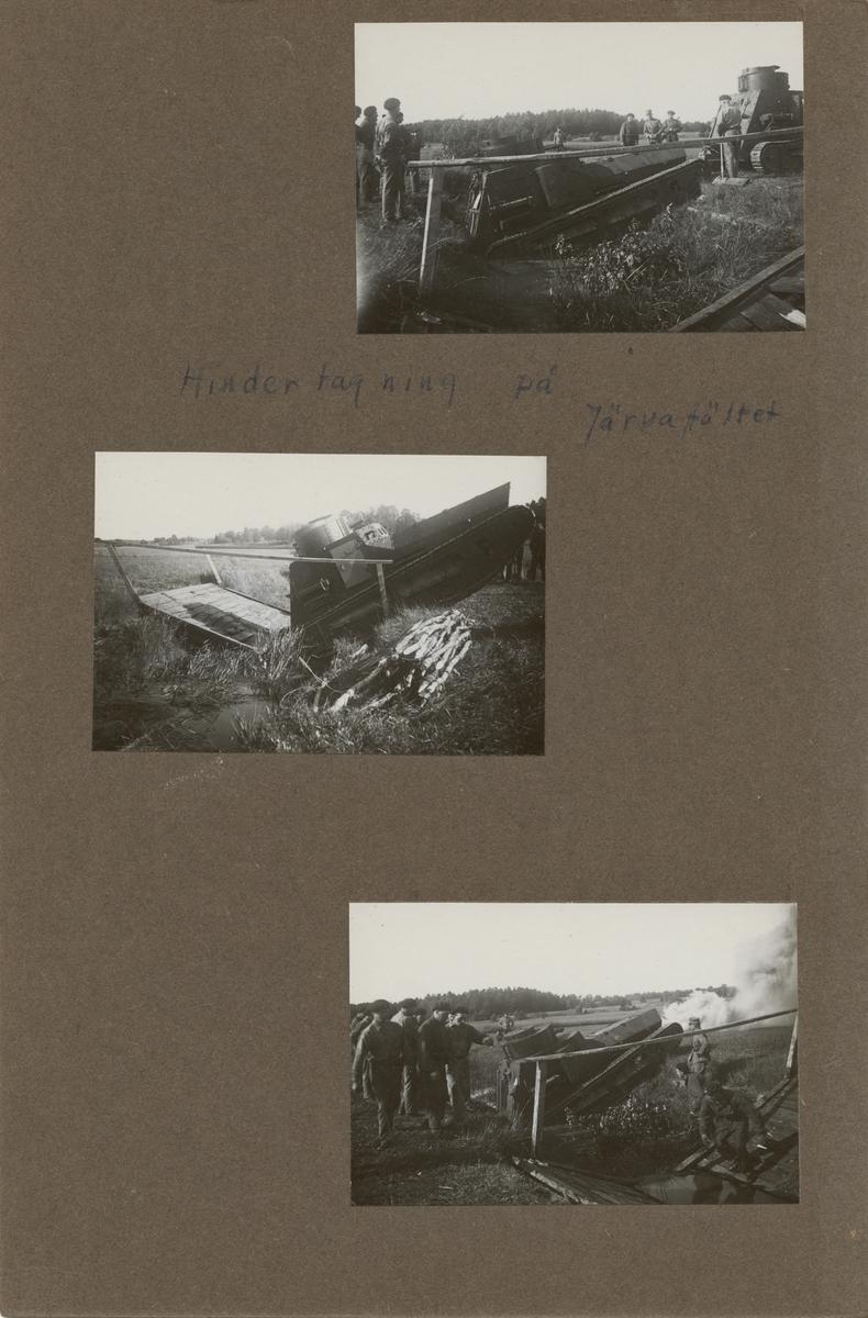 Fältövning med stridsvagn m/1921 (eller m/1921-1929) på Järvafältet, Stockholm. Göta livgardes stridsvagnsbataljon år 1928-1930.