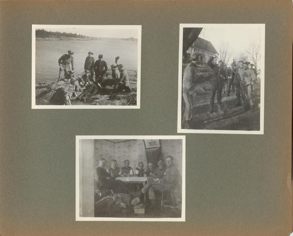 Gruppbild med soldater från Göta livgarde I 2 på stranden.