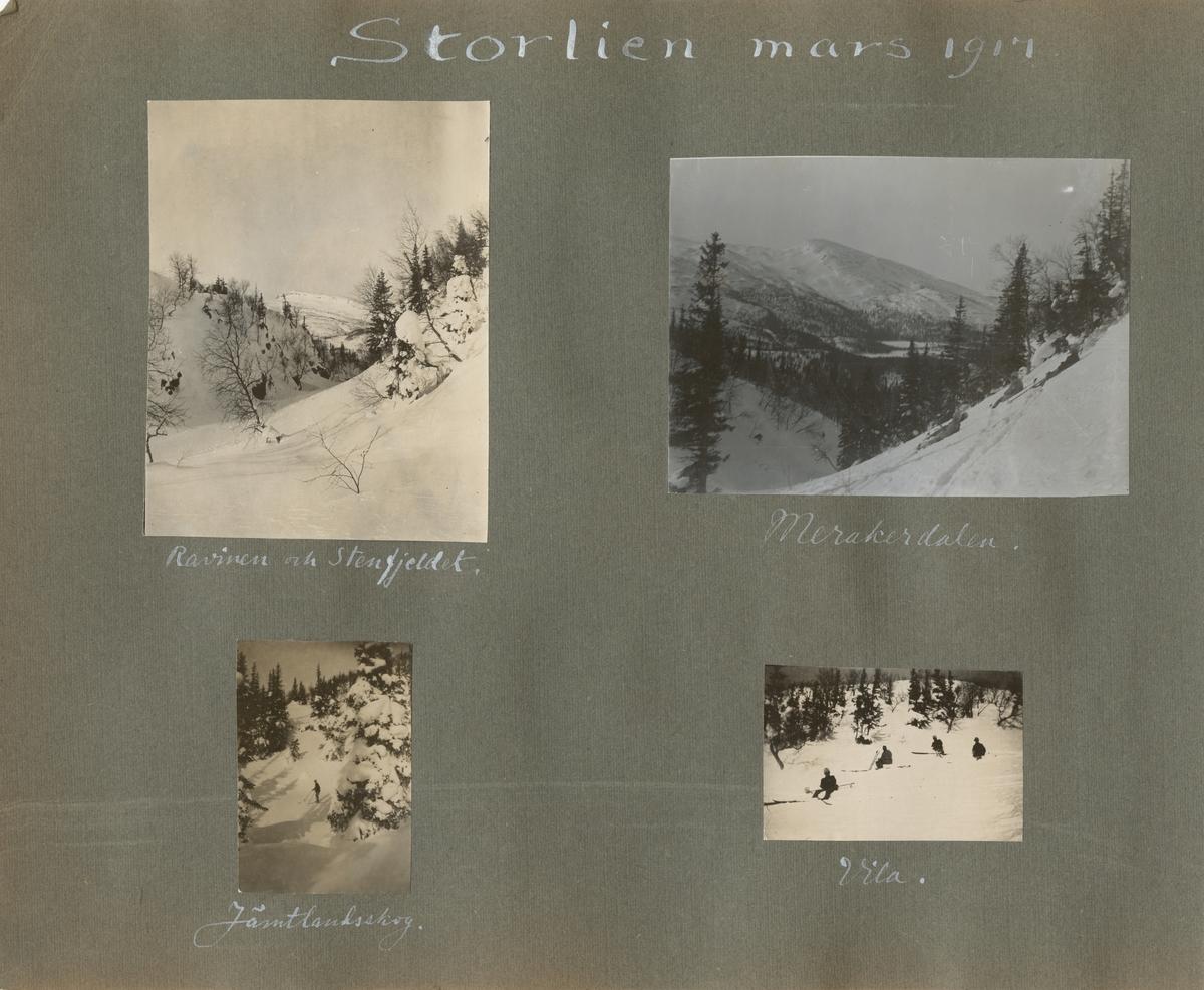 Ett snötäckt vinterlandskap med vy till en fjältopp genom ravin.