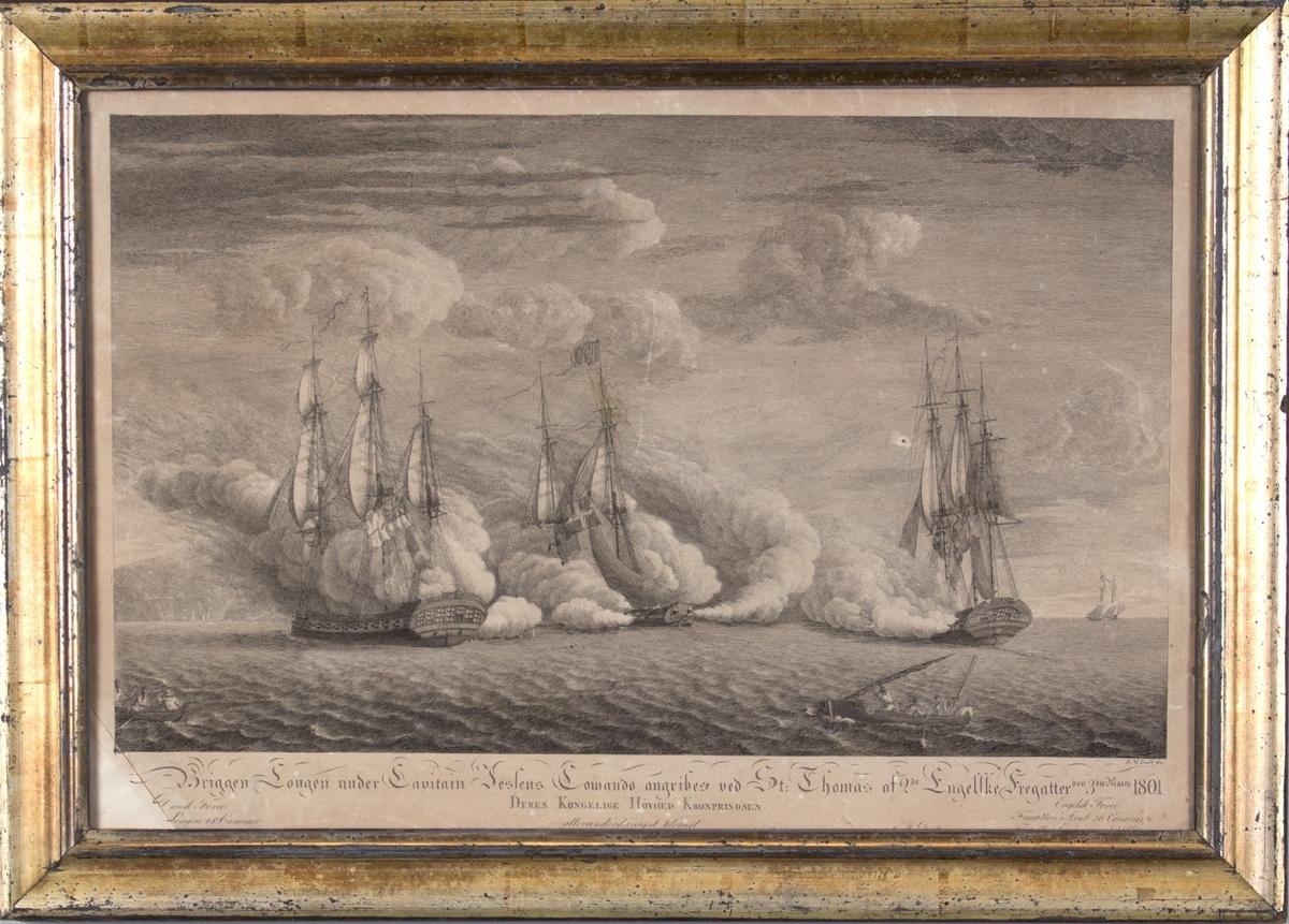 Motivet viser briggen LOUGEN som angripes av de to britiske fregattene ARAB og EXPERIMENT ved St. Thomas i Karibia.