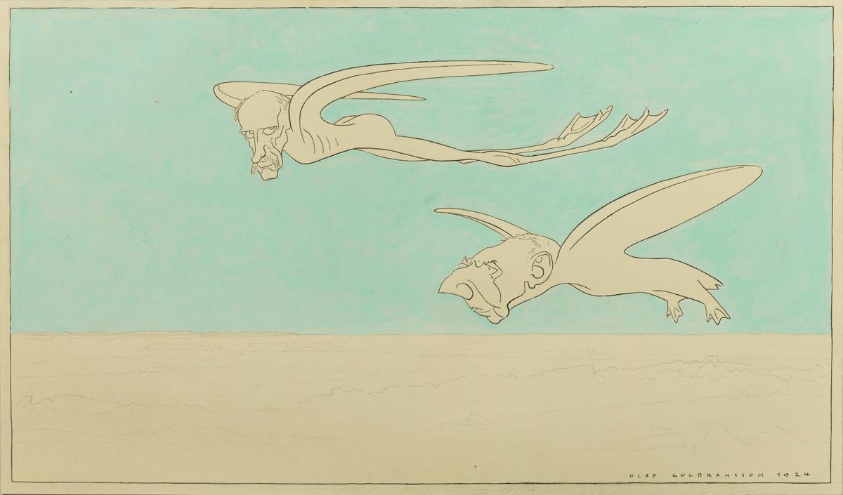 To fugler svever over hvitt polar-landskap, en høy, turkis himmel. De to fuglene har svømmeføtter og forestiller øverst Fridtjof Nansen, nederst Roald Amundsen.