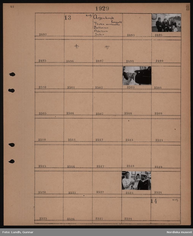 Motiv: Argentinsk fregatt, Tyska matroser, Bollman, Adelson, Suhr; Matroser med civilt klädda män, matroser med hund.