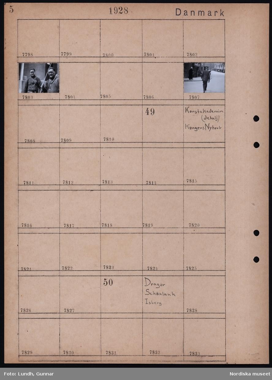 Motiv: Danmark, Köpenhamn, Cirkus;  Porträtt av två sotare, stadsvy med uniformsklädd man.  Motiv: Danmark, Dragör, Schönlank, Isberg;  Ej kopierat.