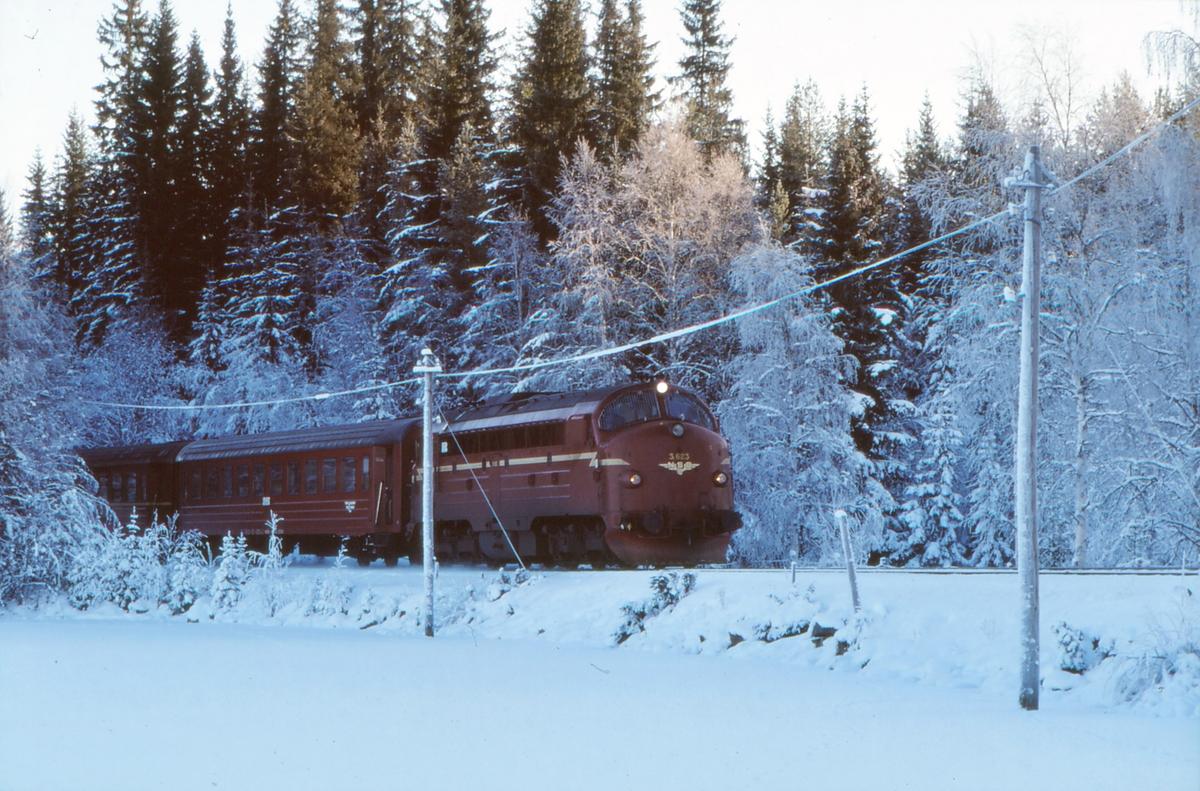 Persontog med NSB dieselelektrisk lokomotiv Di 3 623 kjører ut fra Trevatn stasjon på vei mot Fagernes.