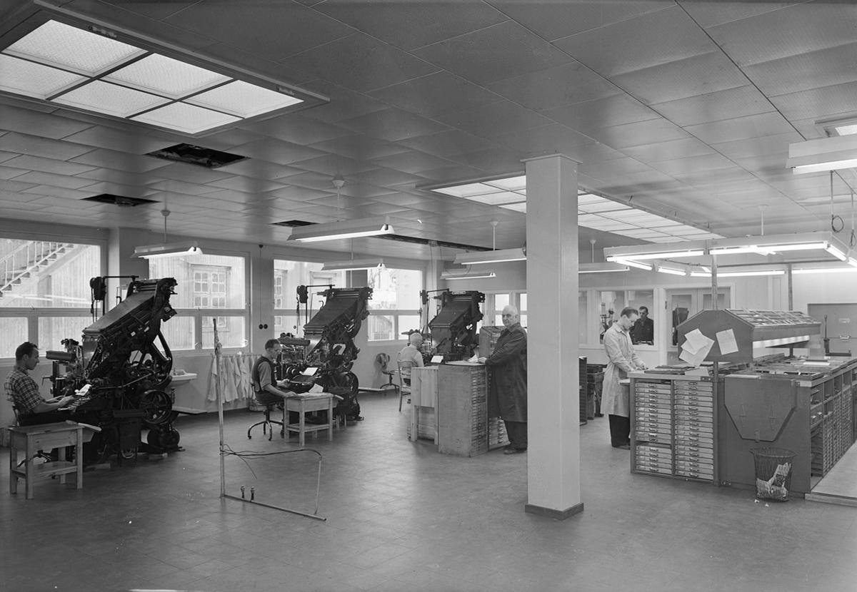 Hamar Arbeiderblad, avis, interiør, maskinsetteri, 1951.