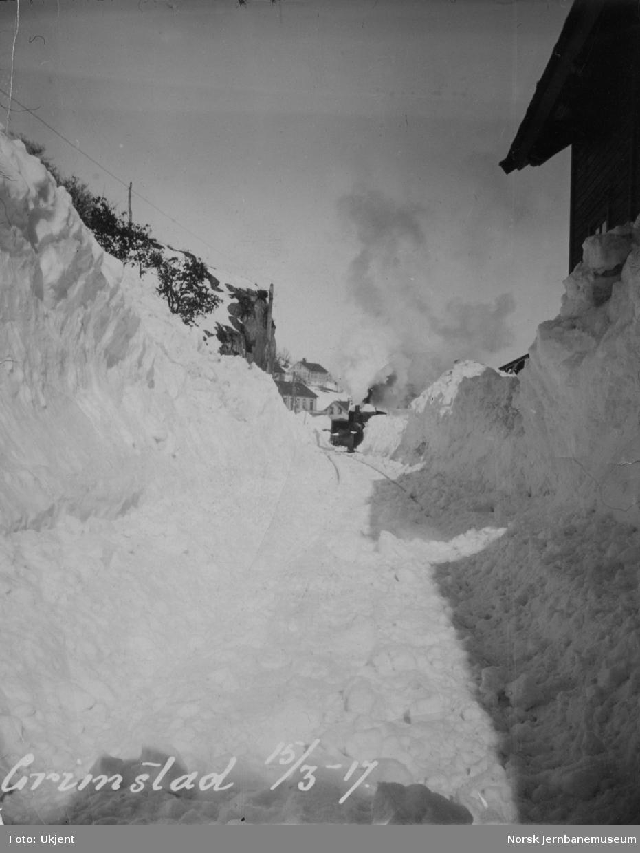 Grimstad stasjon snøvinteren 1917