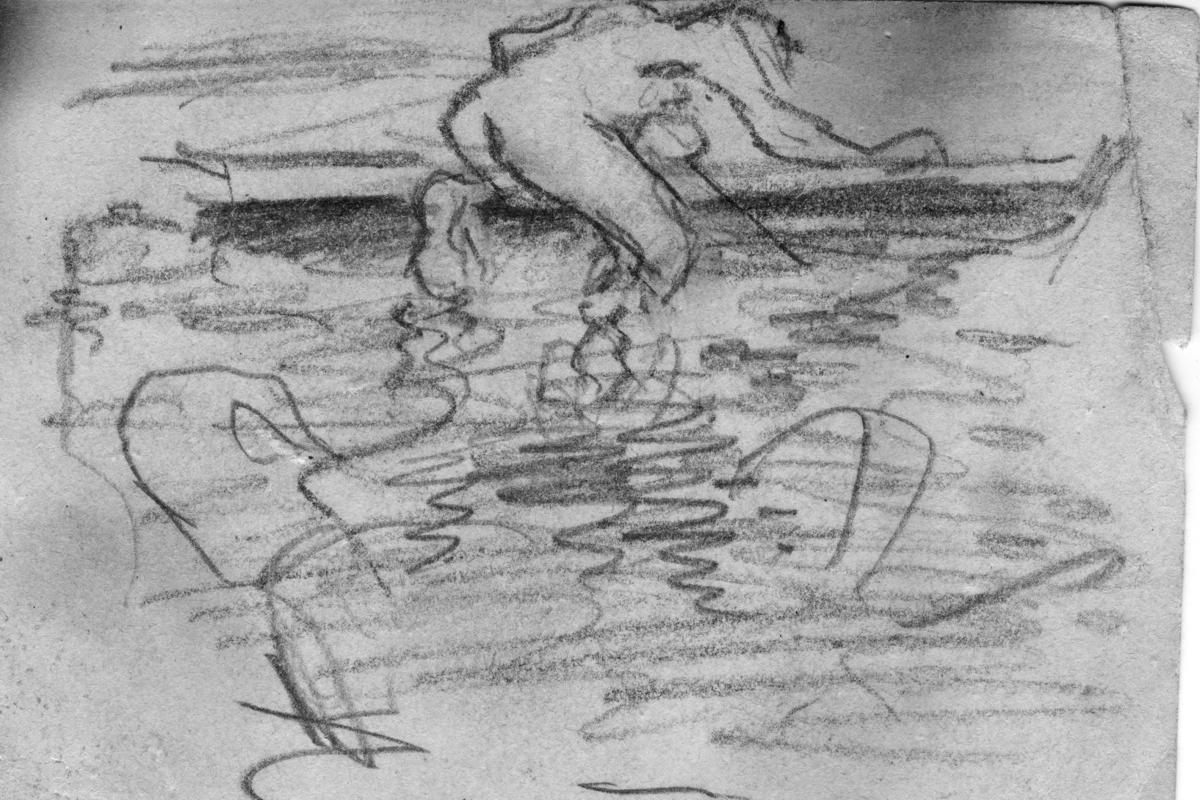 Några män badar och på baksida av bilden har John Bauer gjort en skiss.