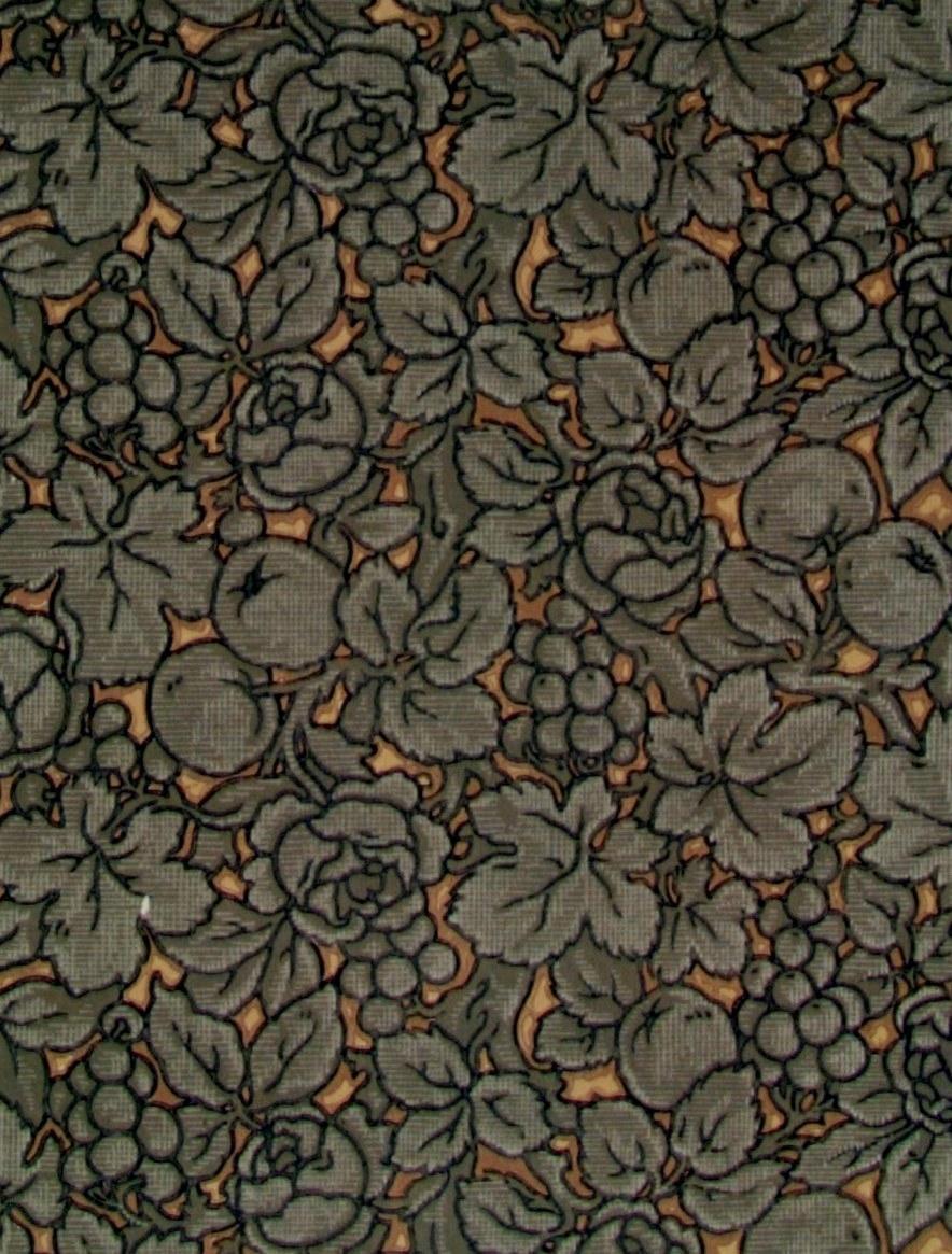 Ett tätt ytfyllande delvis sgrafferat blad-/rosen-/fruktmönster i brunt, svart och något beige på en bakgrund i två ljusbruna nyanser.