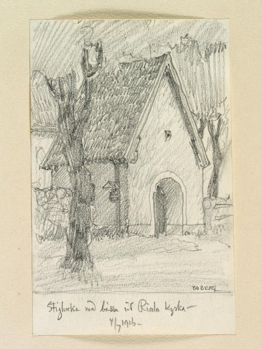 Teckning av Ferdinand Boberg. Uppland, Åkers skplg., Riala kyrka, Stiglucka med bössa