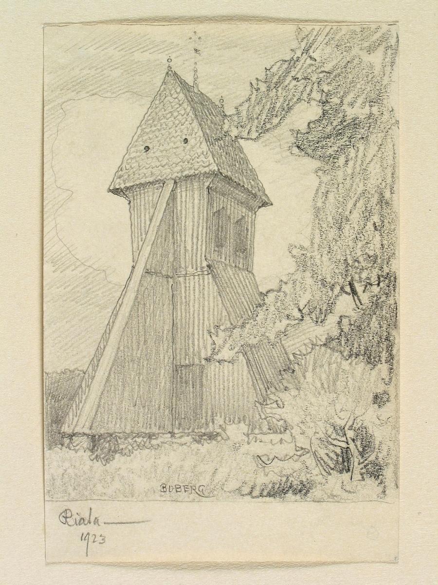 Teckning av Ferdinand Boberg. Uppland, Åkers skplg., Riala kyrka, Stapeln