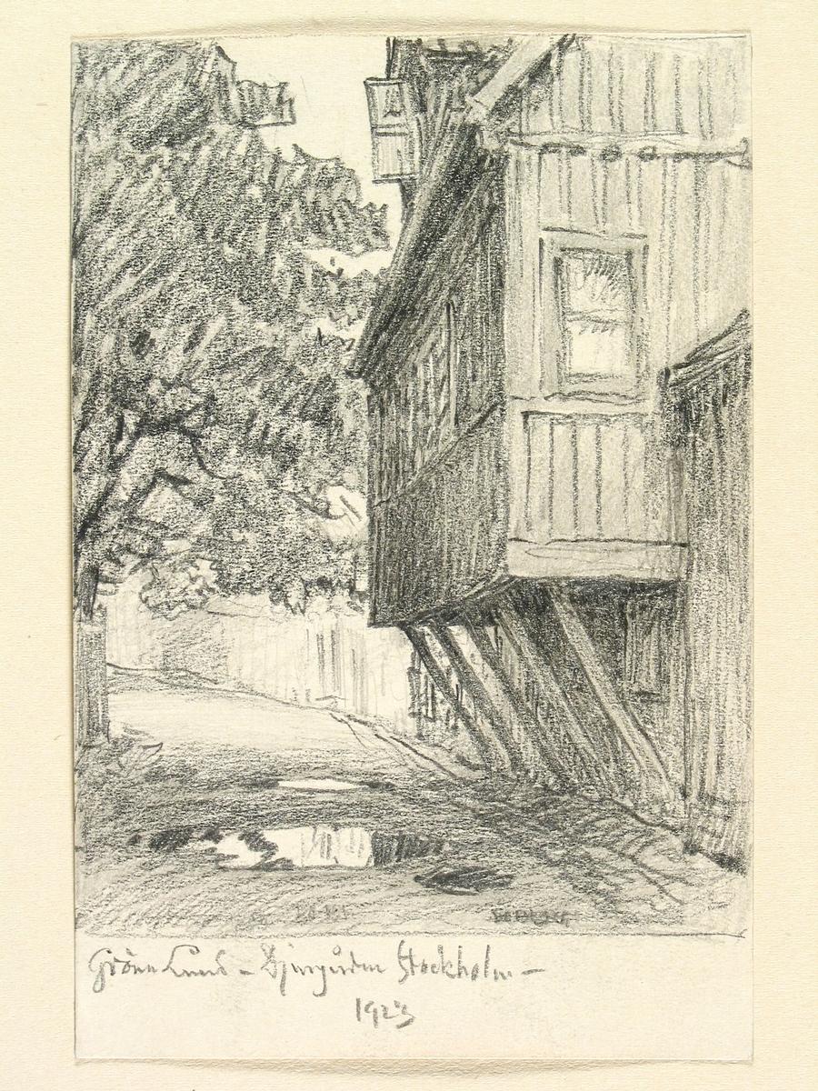 Teckning av Ferdinand Boberg. Stockholm, Djurgården , Kv. Trädgården, Långa gatan 2 och 4, Gröna Lund