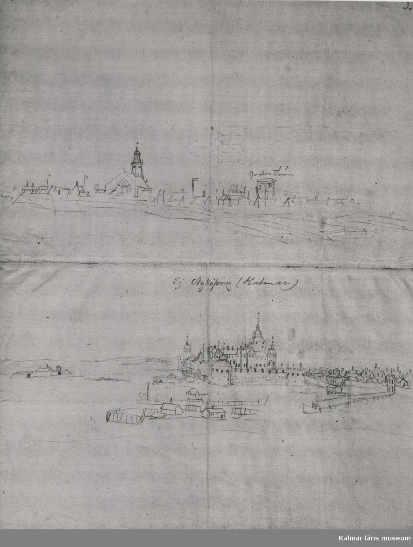 Nedre bilden Kalmar och till vänster Grimskär från nordost., skiss av Erik Dahlberg, troligen 1660-talet. Den finns i  Kungliga biblioteket. Husgruppen framför slottet är norra delen av staden som inte fått plats till höger på bilden. Se: Kalmar län 1965,sid.11 fig.5.