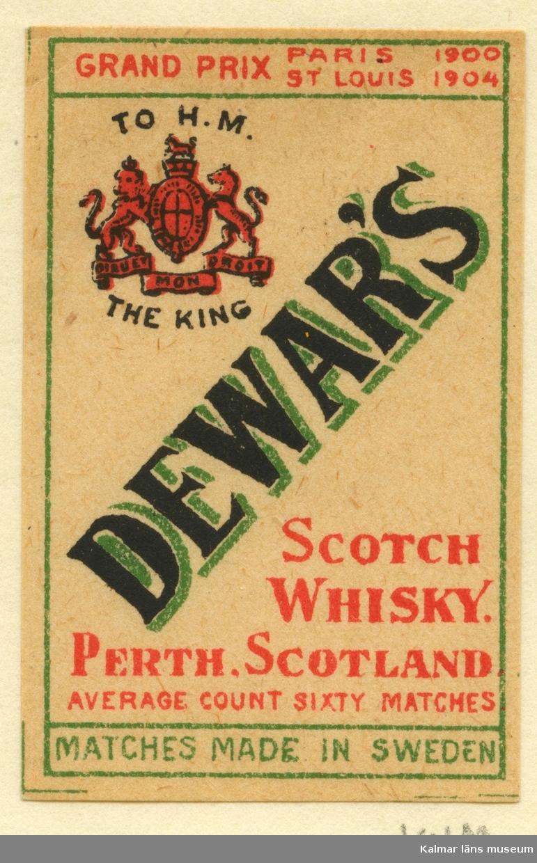 """Tändsticksetikett från Mönsterås Tändsticksfabrik, """"Dewar´s Scotch Whisky. Perth, Scotland. Average count sixty matches."""""""""""