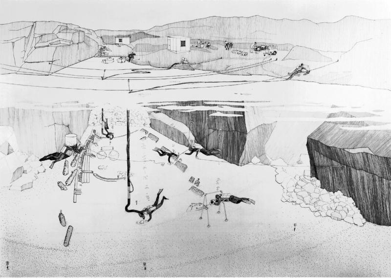 Svart-hvit tegning av utgravningen på Lossen i 1967.