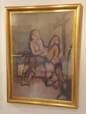 Uten tittel. Ca. 1965-70.  Blandet teknikk på papp. 119x79 cm. Kr. 58.333