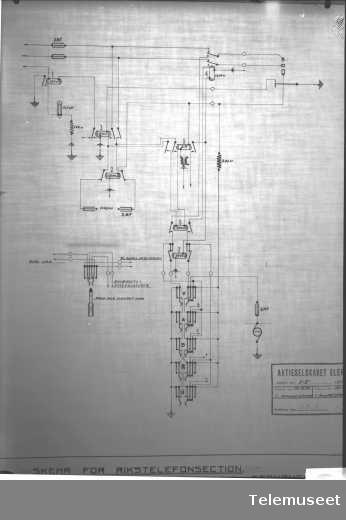 Tegning av telefonsentral, skjema for rikstelefonseksjonen, Stavanger sept 1914. Elektrisk Bureau.