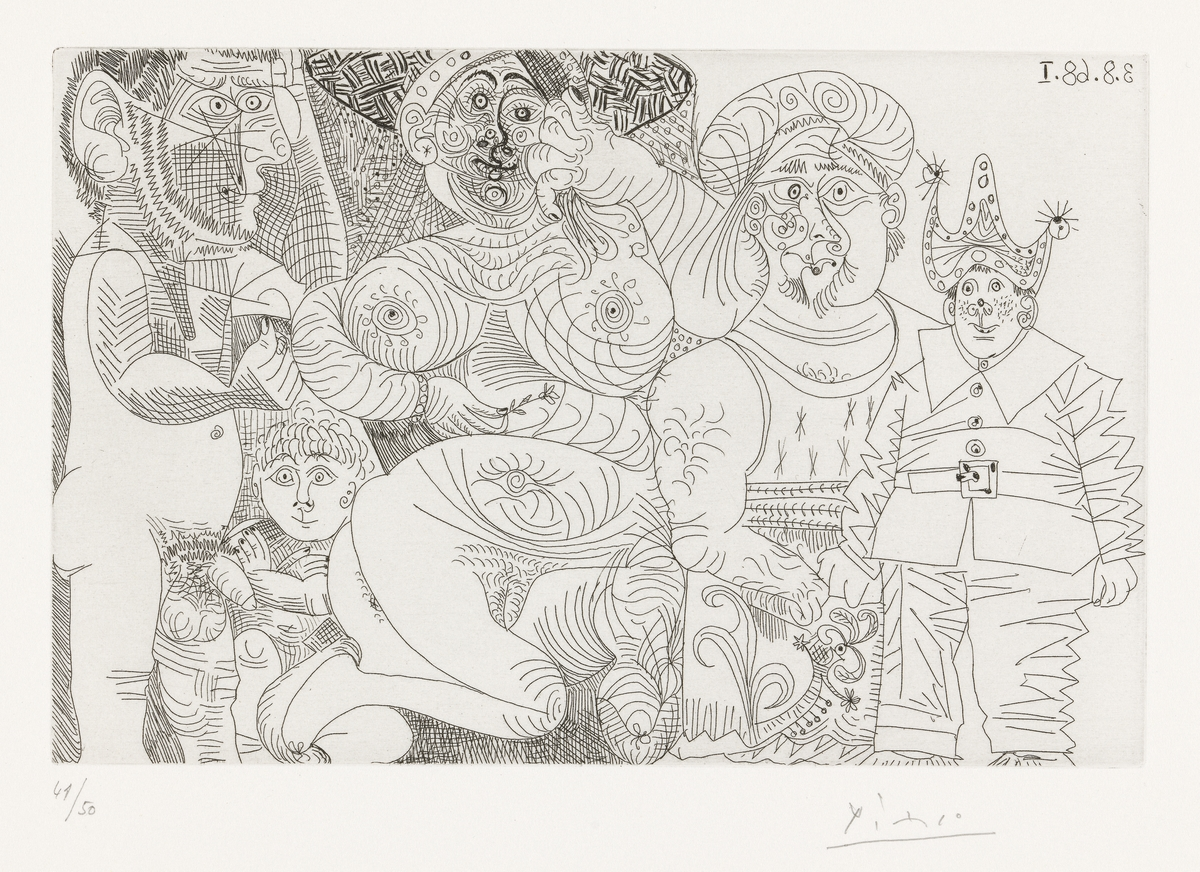 Kvinne med hatt og nellik, mann med turban, klovn, putto og tilskuer [Grafikk]